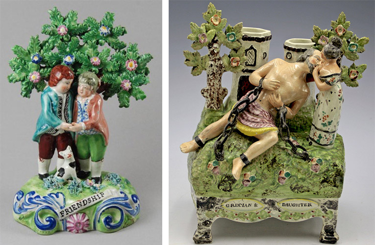 "Many early Staffordshire figures represented sweet themes, like this ""Friendship"" piece shown at left. Eventually, artists incorporated more risque imagery, as seen with the depiction of breastfeeding in the Greek myth of Cimon and Pero at right. Photos © Myrna Schkolne 2013"
