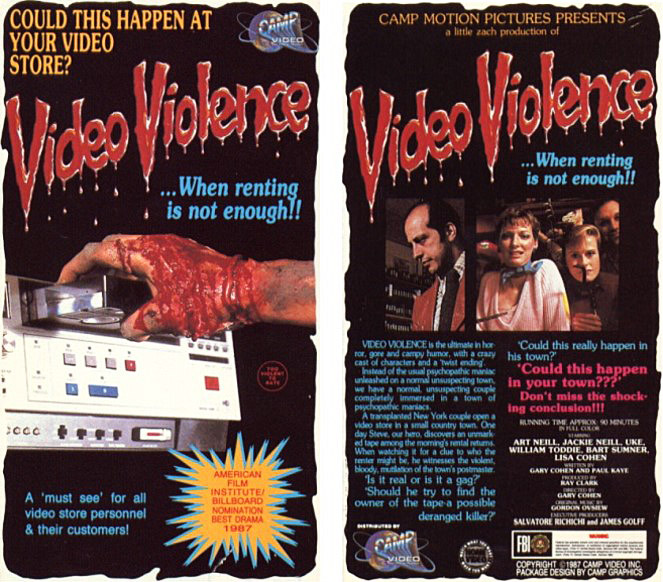 "The cover design for ""Video Violence"" in 1988 exemplifies gory box art that collectors love."