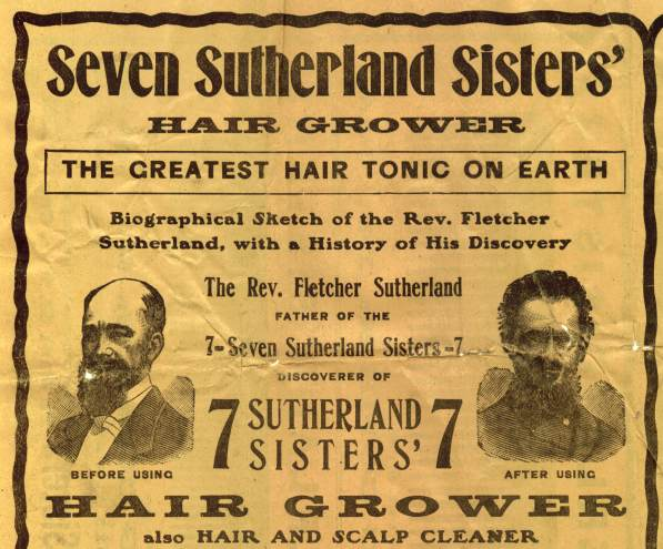 An advertisement featuring the reverend sold the Seven Sutherland Sisters Hair Grower as a miracle cure for balding. (Via RapunzelsDelight.com)