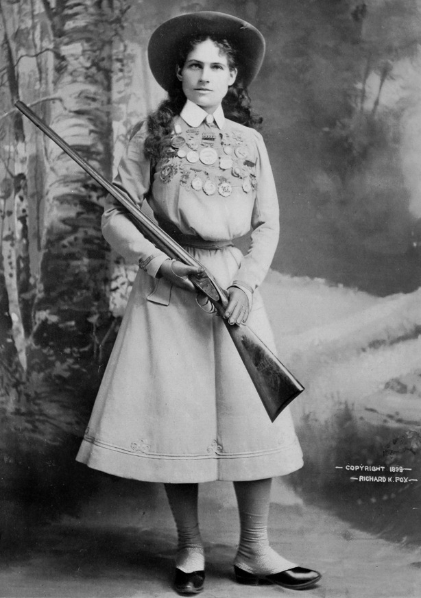 "Sharpshooter Annie Oakley, pictured in the ""Police Gazette"" newspaper in 1899, would show off her talent in ""Buffalo Bill's Wild West"" show. (From the Autry National Center)"