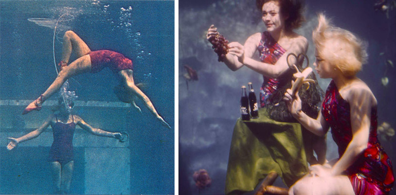 Mid-century aquamaids practicing their ballet moves, left, and underwater table manners, right.