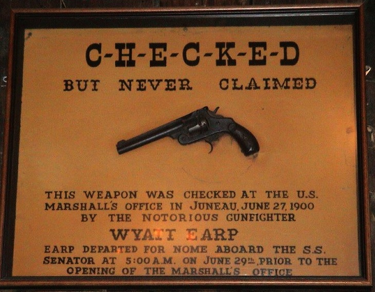 On his way to Nome, Alaska, in 1900, Wyatt Earp checked his pistol at the U.S. marshal's office in Juneau, Alaska, but he failed to claim it. It's now on display at the Red Dog Saloon in Juneau. (Photo by Eric V. Blanchard, via WikiCommons)