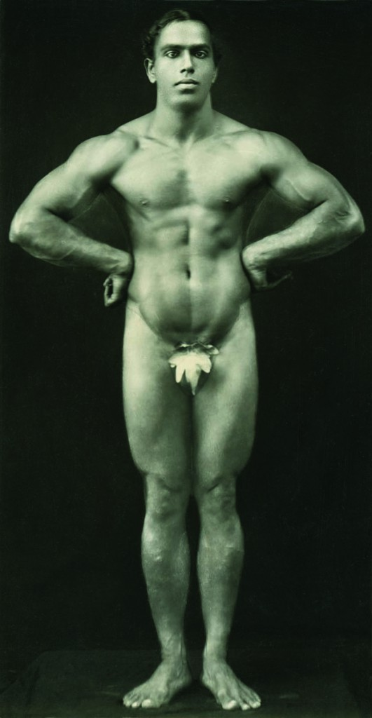 Professor K.V Iyer, one of India's bodybuilding stars, in a Sandow-style pose in 1935.