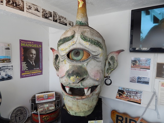 This Cyclops head once graced the top of the façade of Spook-A-Rama. It's now showcased in the Coney Island History Project exhibit in New York. (Courtesy of LaffintheDark.com)