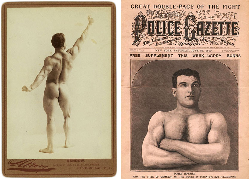 "Left, a souvenir cabinet card of Sandow, made in 1893. Right, the ""National Police Gazette"" was an early tabloid that featured scantily clad men and women under the guise of sports news."