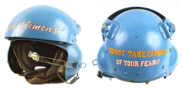 "Army lift platoon Commander Judd Clemens ""commandeered"" this U.S. Air Force flight helmet and had it painted with a quote from Confederate general Stonewall Jackson, ""Do not take counsel of your fears."" (Courtesy of Clemens, via VHPAMuseum.org)"