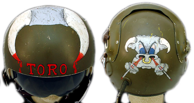 "Mike Brockovich says, ""All the original Toro pilots had the Toro hand painted on their helmets by warrant officer Lester A. Hansen, who ended up an MIA. My helmet was the only one modified with an Air Force visor and painted with horns."" (Courtesy of Brockovich, via VHPAMuseum.org)"