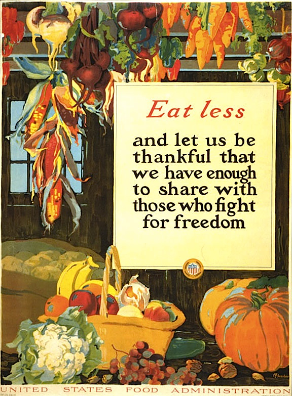 """Eat Less,"" by Hendee, lithograph, 1918."