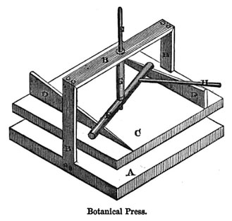 "A press recommended by Shirley Hibberd in his 1872 book, ""The Seaweed Collector."""