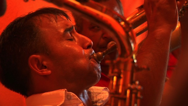 "Demiran Ćerimović competes for the title for top trumpeter at the Guča Trumpet Festival in 2010. (Still from ""Brasslands"" courtesy of the Meerkat Media Collective)"