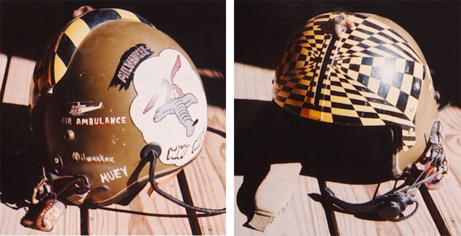 "Wayne Mutza says, ""Although this is not the flight helmet I wore in Vietnam, which was painted black, it served as a log of things I've done."" This helmet also lists Pakistan, Cambodia, and Korea as places he did tours of duty in. (Courtesy of Mutza, via VHPAMuseum.org)"