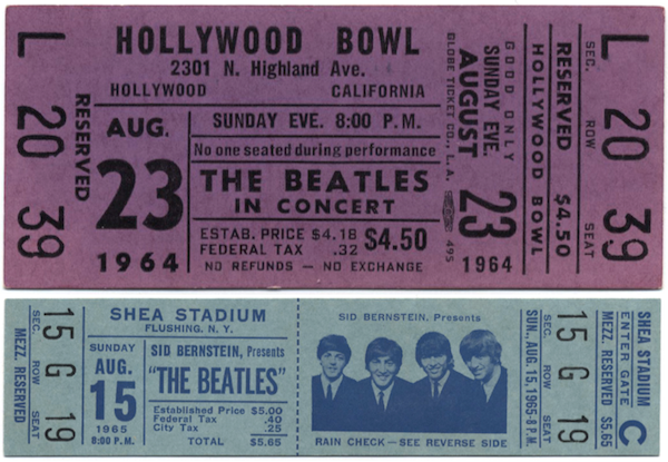 Tickets for Beatles shows in 1964 at the Hollywood Bowl and 1965 at Shea Stadium.