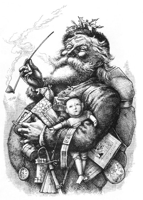 "Inspired by ""'Twas the Night Before Christmas,"" magazine illustrator Thomas Nast drew a chubby Old St. Nick in 1863 and gave him the name ""Santa Claus."""