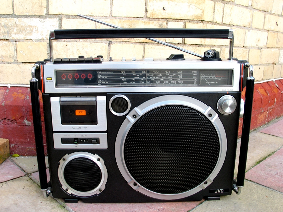 "Lightwood considers the JVC RC-550, also known as ""El Diablo,"" as the first radio to resemble a true boombox."