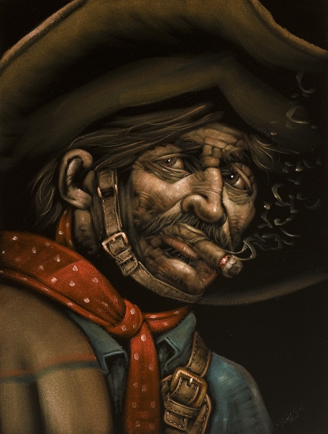"Tijuana artist Jesus ""Chuy"" Gutierrez took a photo of a neighbor with a craggy face in the 1960s and painted him as a bandido. This image as been replicated and altered hundreds of times by Gutierrez and his copycats. (Photo by Scott Squire from ""Black Velvet Art"")"