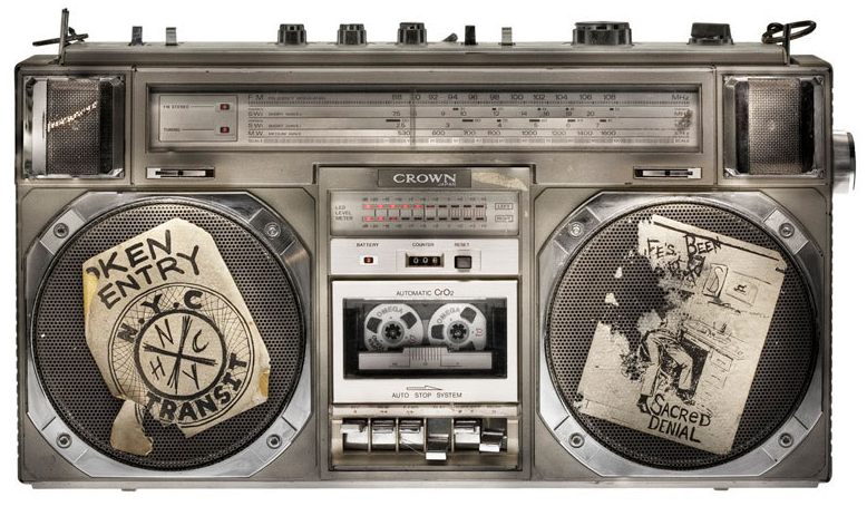 Often boomboxes were customized with emblems of a favorite band or musical style, like this punked-up Crown CSC-950. Photo courtesy Lyle Owerko.