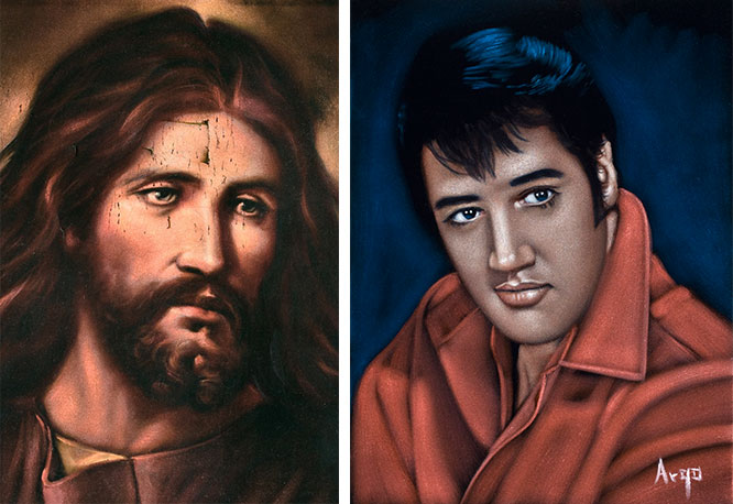 "Religious images have been painted on velvet since the Middle Ages. During the 20th century craze, Jesus was still the No. 1 figure seen on Mexican velvets, followed by Elvis, as seen on the painting at right by Argo. (Photos by Scott Squire from ""Black Velvet Art"")"