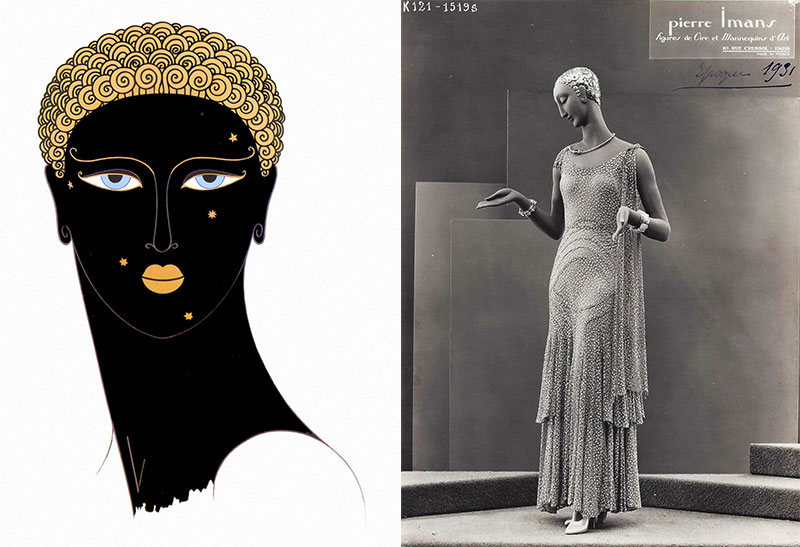 "Left, an Erté illustration entitled ""Queen of Sheba,"" which was incorporated into a Pierre Imans mannequin designed to resemble Josephine Baker, seen at right. Photograph courtesy Marsha Bentley-Hale."