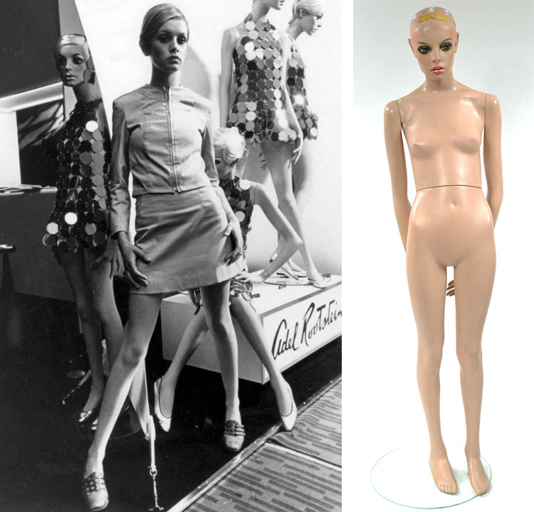 Left, Twiggy poses in front of a Rootstein display, and right, Morrisette's very own Twiggy mannequin. Image courtesy ChadMichael Morrisette.