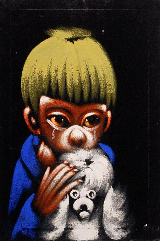 "Strange, alien-like children with huge eyes show up often on vintage velvets. (From the Velveteria collection in ""Black Velvet Masterpieces"")"