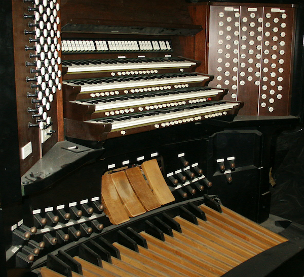Also in storage in the organ's console, which replaced the original in 1963. It features four manuals or keyboards.