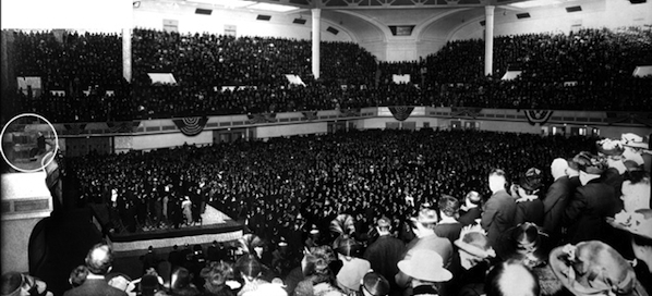 Lemare (in the circle at left) performing to a packed house in Civic Auditorium.