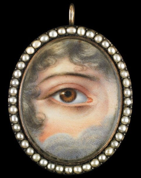 An example of a lover's eye pendant from 1830. Supposedly, the single eye could keep the identity of the wearer's lover secret. (The Hairpin, via the Winterthur Museum, collection of Dr. and Mrs. David Skier)
