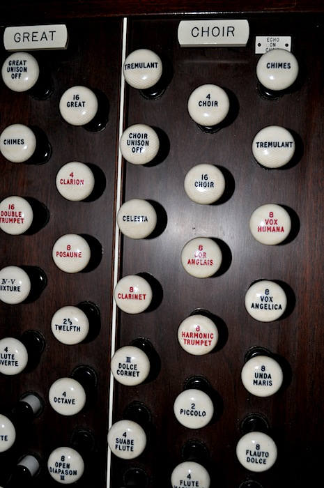 When the stops on Opus 500 are opened by pulling them out, air is allowed to flow through ranks, or groups, of pipes, which give the notes played by the organist different tones.