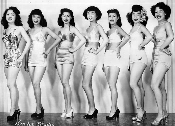 The contestants of the first Miss Chinatown competition in 1948. Pageant winner Penny Wong, second wife of Chinese Skyroom founder Andy Wong, stands at the front of the line, at left.