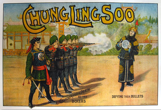 American-born William Ellsworth Robinson took his stage name, Chung Ling Soo, from a Chinese magician named Ching Ling Foo. Robinson carefully maintained his image by relying on an interpreter in all public appearances, and was killed when his bullet-catching act went awry. Courtesy Zack Coutroulis.