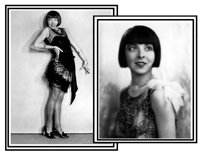Actress Colleen Moore wears the definitive flapper look, in a short-cut dress with a flattened bust and plenty of layers to showcase her moves.