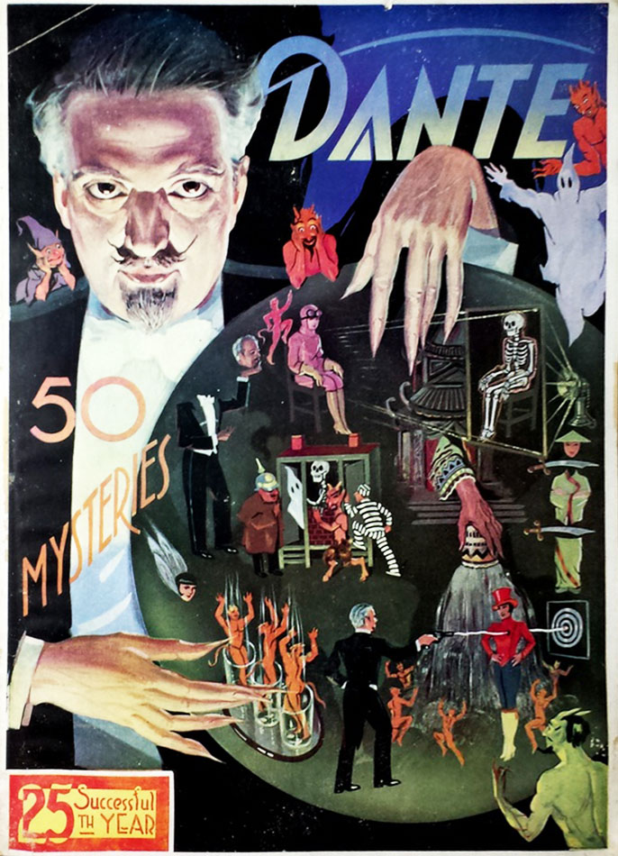 Dante's ghoulish countenance watches over a series of vignettes depicting his various illusions on this program cover, circa 1930. Courtesy Zack Coutroulis.