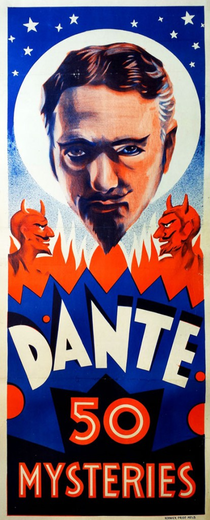 Despite his haunting posters, like this ad from 1935, Dante welcomed children at his performances. Courtesy Zack Coutroulis.
