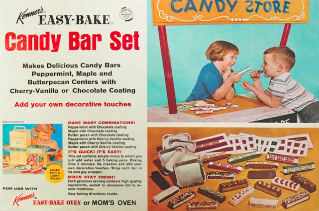 This early Easy-Bake set, which let kids make their own candy bars, showed a girl and boy playing together on the package. (Courtesy of Todd Coopee)