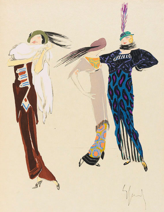 "A drawing from illustrator Enrico Sacchetti's 1913 book ""Robes et Femmes"" (""Dresses and Women""), showing variations of the popular tunic and ""hobble"" skirt combination."