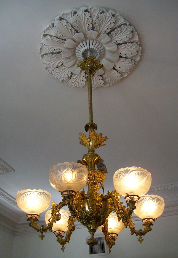 A chandelier from the Wilmington, N.C., mansion built for Dr. John D. Bellamy, a prominent planter, physician, and businessman, who kept nine enslaved people at the house. (Photo by Arnold Modlin)