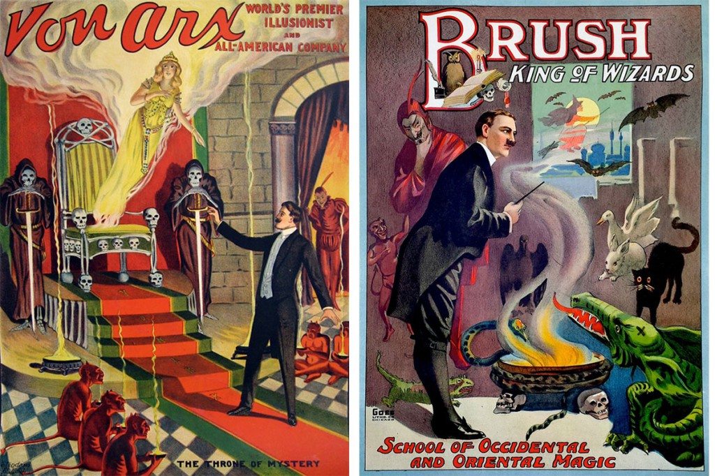 These Von Arx and Brush posters, circa 1920, show the variety of supernatural references magic posters incorporated. Courtesy Zack Coutroulis.