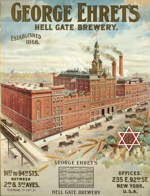 In 1935, Jacob Ruppert, Jr. purchased the Hell Gate Brewery in the Yorkville section of the Upper East Side of Manhattan. The building was razed at the end of the 1960s to make way for a residential development. Photo via New-York Historical Society.