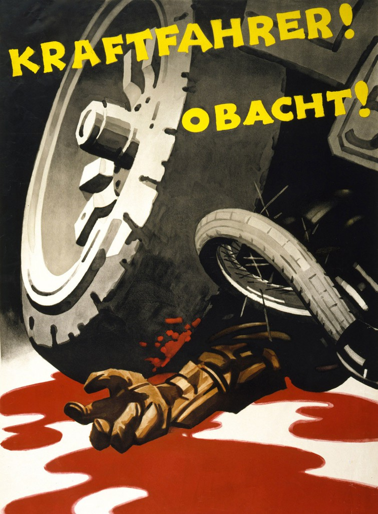 "Gory depictions of car violence became rare in the United States after the 1920s, though they persisted in Europe, as seen in his German safety poster from 1930 that reads, ""Motorist! Be Careful!"""