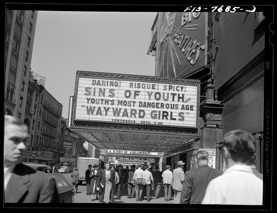 A 1940s-era marquee showing the eternal allure of rebellious youth.