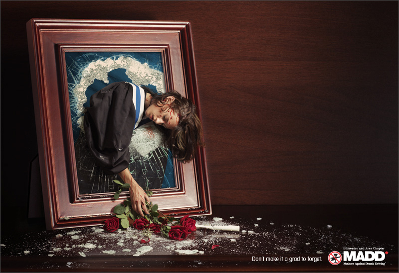 Though their advocacy is limited to drunk driving, MADD is one of the few organizations to use violent imagery to promote road safety, as seen in this ad from 2007.