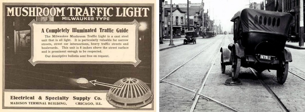 Left, an ad for the Milwaukee-style traffic mushroom, and right, the device in action on Milwaukee's streets, circa 1926. Via the Milwaukee Public Library.