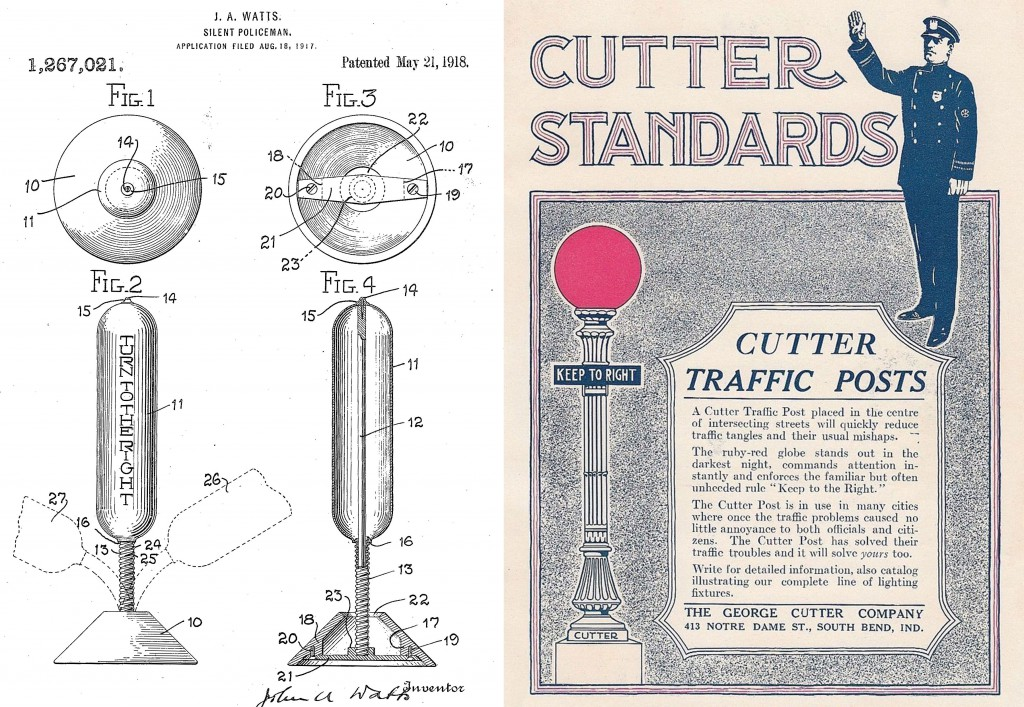 Left, a patent for a Silent Policeman traffic post, and right, an ad for the Cutter Company's lighted post, both from 1918.