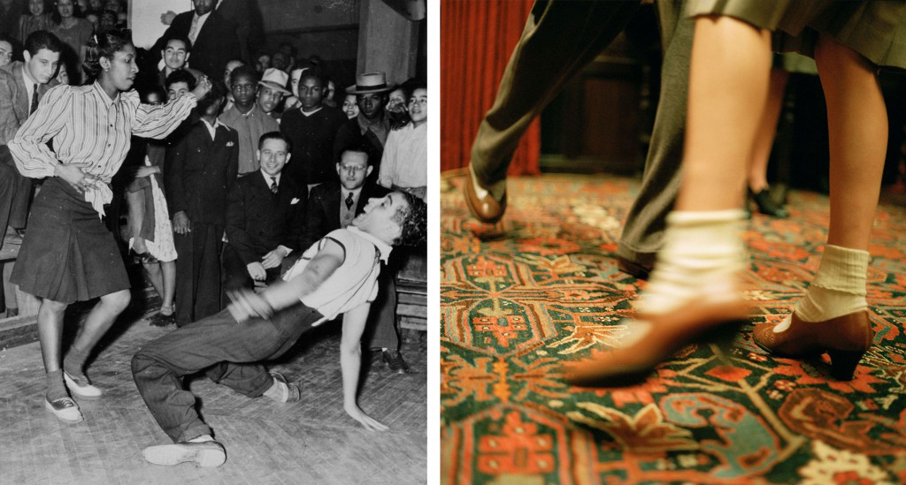 Left, an archival photo of a couple of swing dancers and right, a scene of re-created dancing.