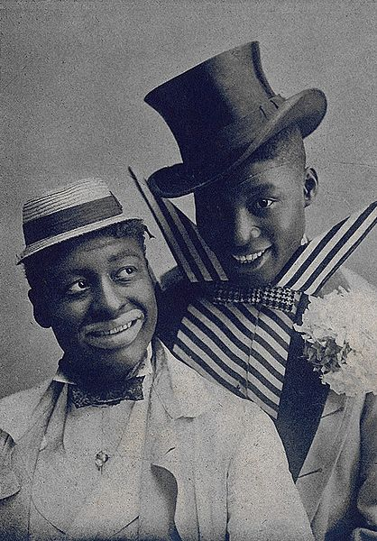 "Vaudeville performers Bert Williams, at left, and George Walker in blackface and comic outfits in 1903. (From sheet music ""I'm a Jonah Man"" from the musical ""In Dahomey"")"