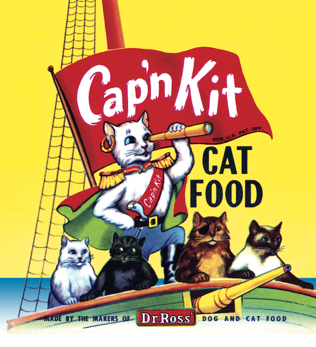 Above: Cap'n Kit, made by the Ross Food Company of Los Angeles, California. Top: Down Boy, made by The General Packing Company, Waynesville, Ohio.