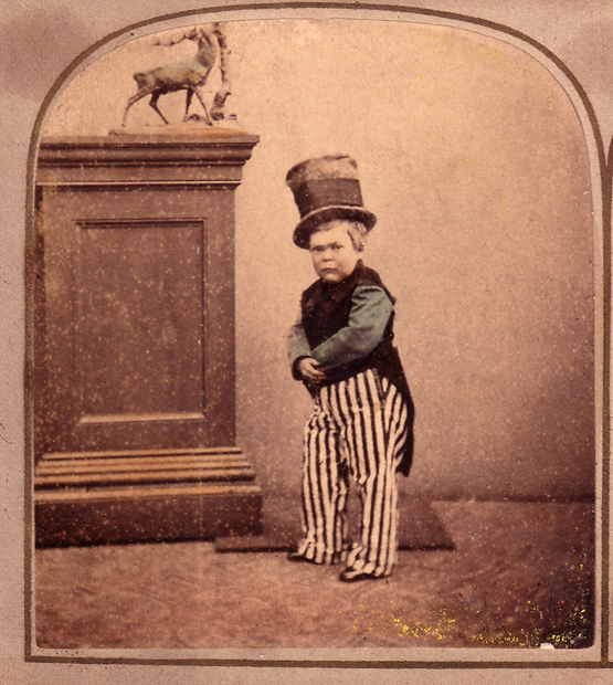 Tom Thumb, a little person who got his start partnering with showman P.T. Barnum, was one of the most famous entertainers of the 19th century. (Via Morbid Anatomy)