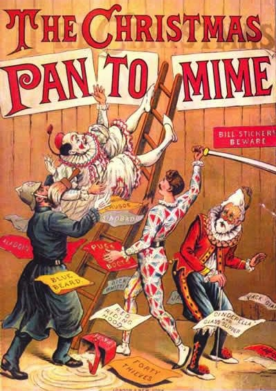 """The Christmas Pantomime"" color lithograph book cover from 1890, showing the harlequinade characters, Clown, Harlequin, Pantaloon, and a cop. (Via WikiCommons)"