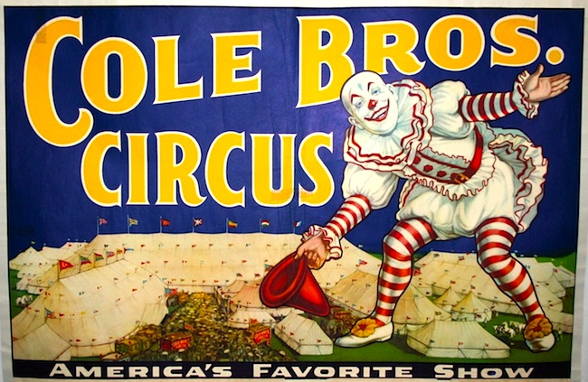 A Vintage Poster Advertising The Cole Bros Circus