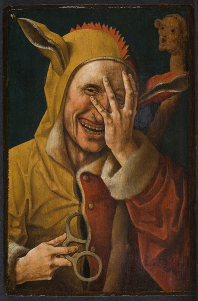 "A Netherlandish oil painting of a ""laughing fool"" circa 1500. (From the Davis Museum at Wellesley College)"